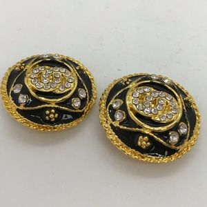 Clip on earrings round gold & black w/ rhinestones